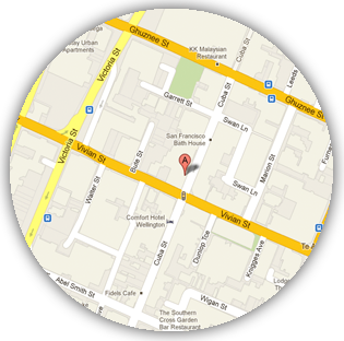 Location Map for Scotty and Mal's Cocktail and Lounge Bar on Cuba Street, Wellington